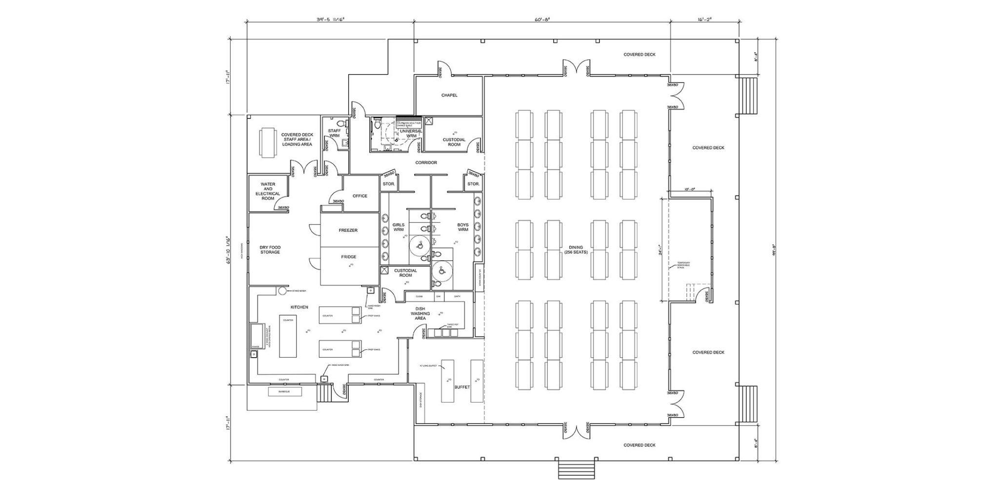 Pioneer Camp dining hall sketch
